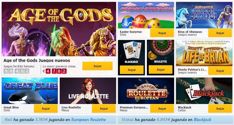 juegos disponibles en Betfair Casino