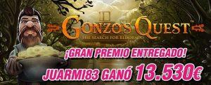 La tragaperras Gonzo's Quest reparte un bote de más de 13.000€
